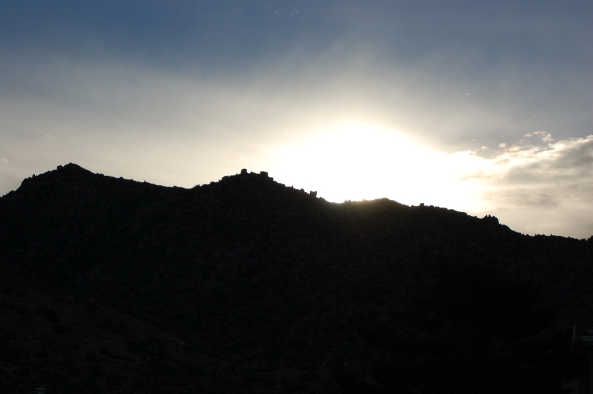 The sun is rising from behind the Sandias.  Today marks the southern most point of its annual journey.